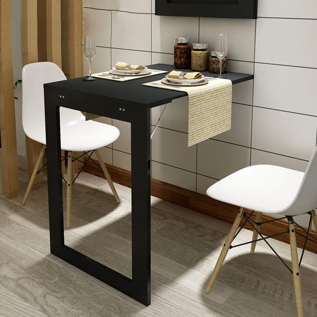Mmdp Multifunctional Folding Table European Style Folding Dining Table Small Apartment Wall-mounted Tables Computer Desk Household Small Table (Color : Black, Size : 74cm45cm)