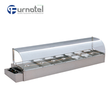 Restaurant Curved Glass Counter Top Stainless Steel Bain Marie Counter
