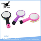 Fashionable mini colorful plastic bristle hair brush with mirror