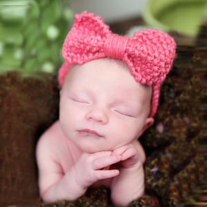 Knitted Baby Big Bow Headband Crochet Knit Headwrap