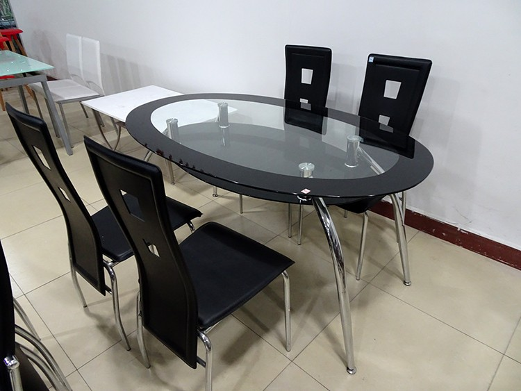 d8a9d58f277 Russia Style Detachable Black Color Oval Double Layer Glass Dining Table