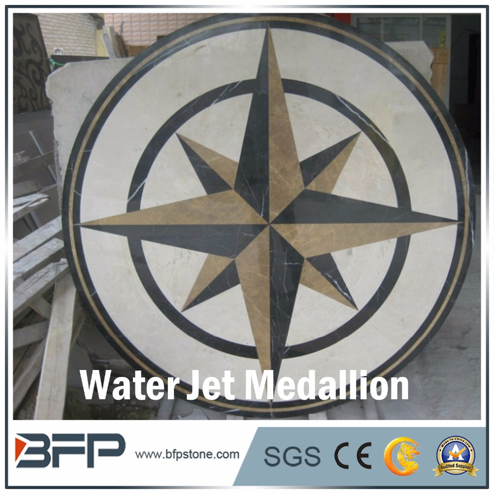 Accept custom water jet flowers pattern white compass medallion