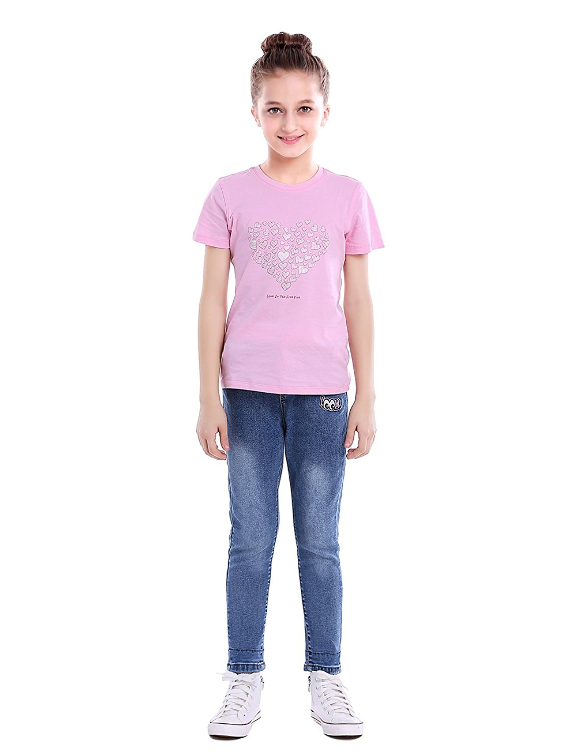 HOLLAGLEE Girls Premium Skinny Jeans Slim Fit for Toddlers and Big Girls