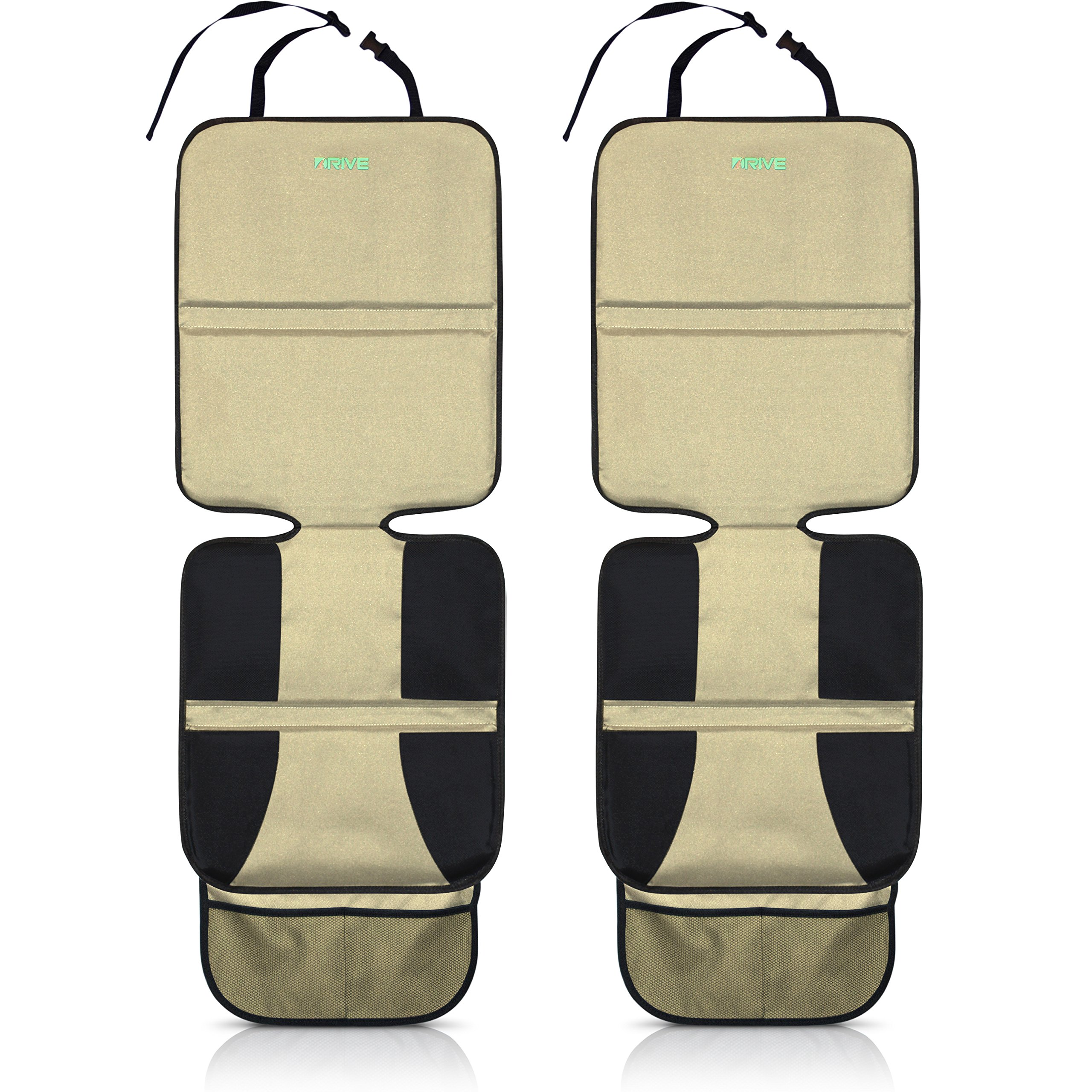 Drive Auto Products Car Seat Protector (2-Pack) by, Tan - Ultimate Neoprene Backing is Best Protection for Child & Baby Cars Seats, Dog Mat - Cover Pad Protects Automotive Vehicle Upholstery