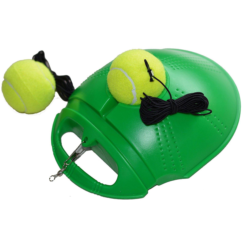 Green Gadgetrock Fill & Drill Tennis Trainer Tennis Practice Training With 2 Balls,Rebound Tennis Trainer, Best Tennis Training Partner for Beginner