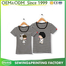 Plus Size Couple Black stripes Rubber printing 100 combed cotton t shirts OEM