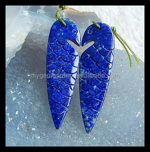 Hand Carved Lapis Lazuli Bird Gemstone Earring Bead,46x9x4mm,8.96g