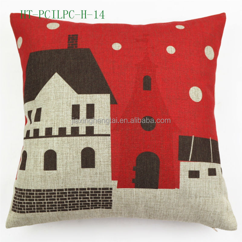 Retro Vintage Christmas Anime Cushion Cover, Cotton and Linen Custom Sublimation Printed Pillow Case HT-PCILPC-H-05-15