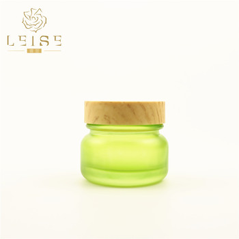 15ml 30ml 50ml clear green frosted cosmetic glass jar with lid white plastic cap bamboo pattern cap for cosmetic