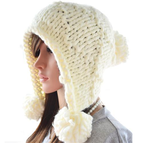 Lovely Womens Skull Caps Fashion Warm Winter Knit Beanie Hats Solid Color Woolen Material Crochet Beanie Hat On Sale P03