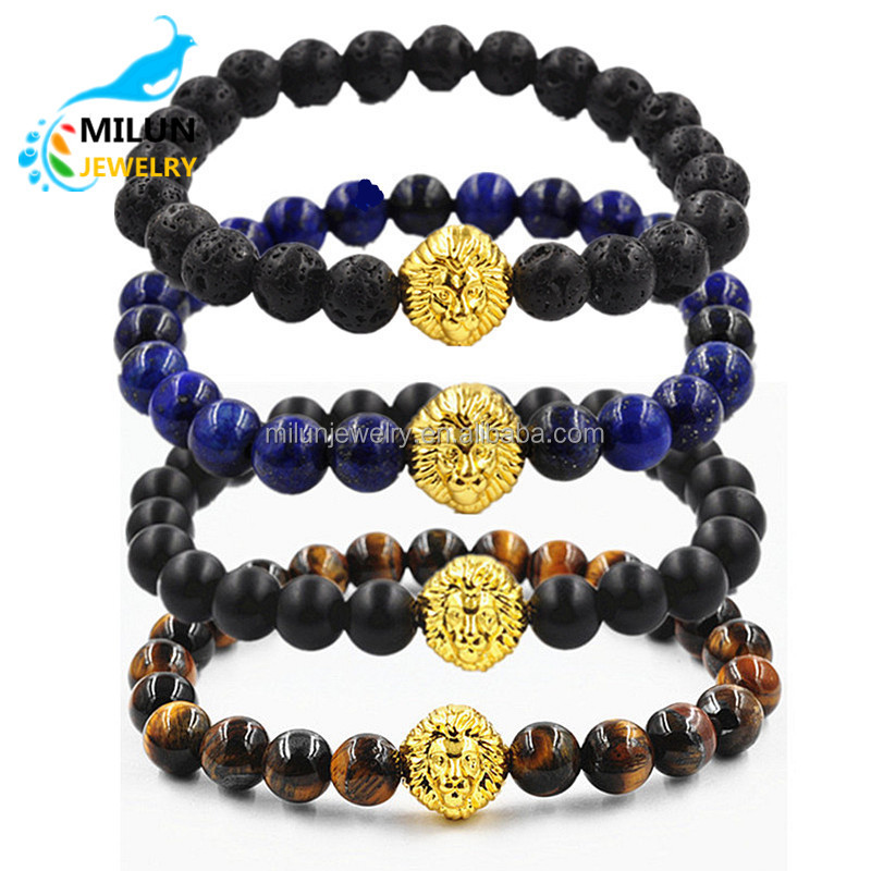 Custom Gold Lion head gemstone beaded Lava Stone beads Bracelet men