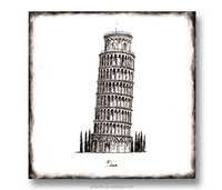 Wood Wall Painting For Home Decor Of Torre di Pisa