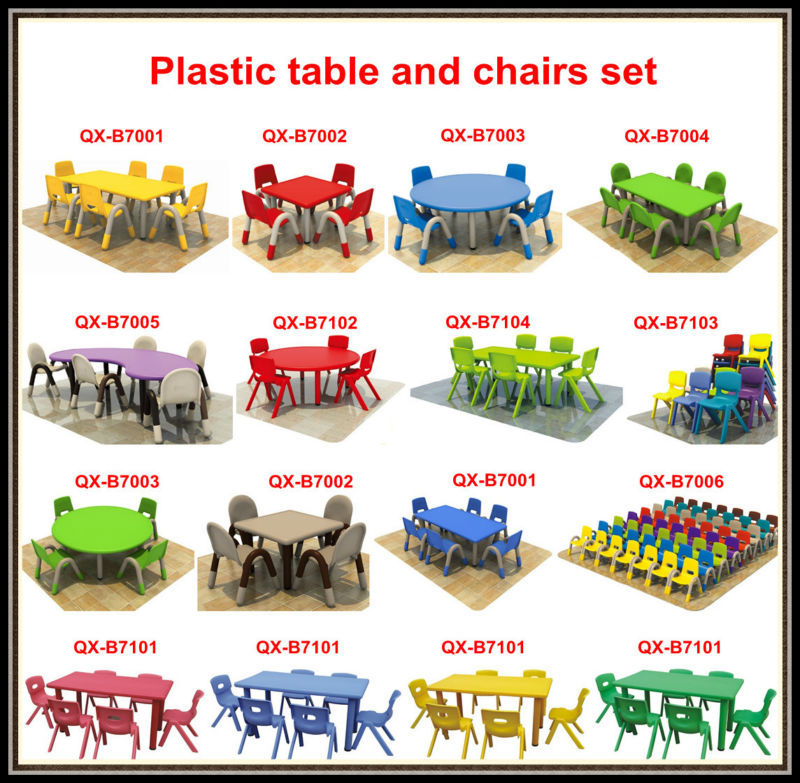 Preschool Furniture Wholesale Plastic Chair And Round Table In 6 Seaters Used  School Furniture Plastic Tables