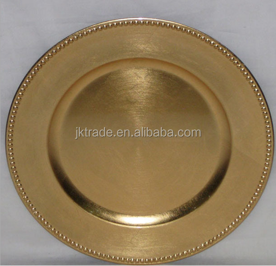 china wholesale bulk elegant 13inch gold charger plate for wedding