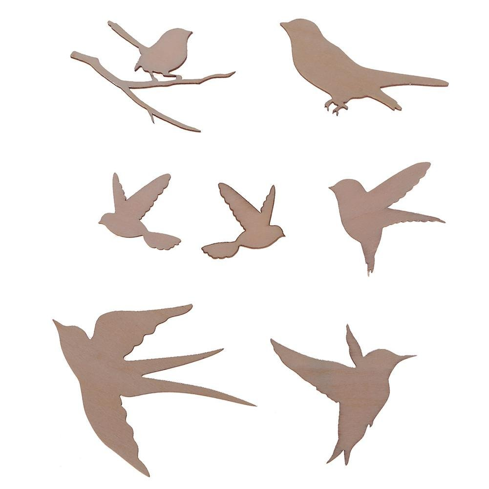 Whitelotous 7pcs/Set Bird Wood Carving Applique Decal Furniture Wall Cabinet Door Corner Ornaments Shooting Props Wall Stickers DIY Home Decor