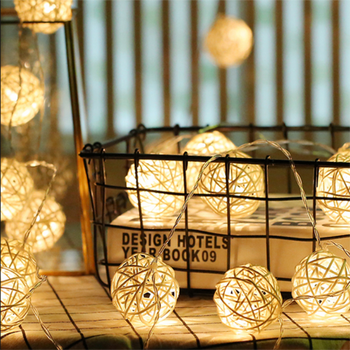 factory price Warm White 10 led Rattan Ball String Lights