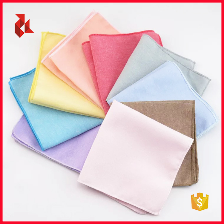 Men's Colorful Solid Cotton Pocket Squares