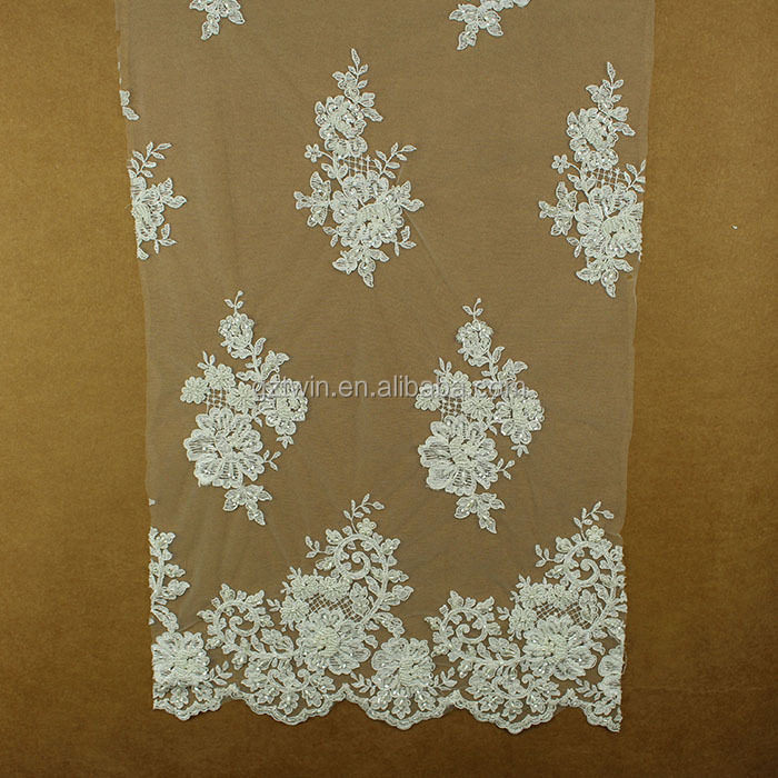 Handmake embroidery beaded french guipure border lace fabric for making dress