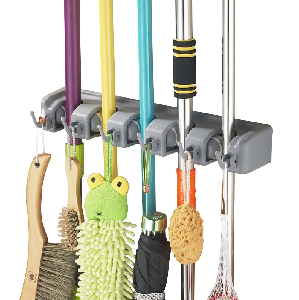 Bekith Mop and Broom Holder, 5 Position with 6 Hooks Garage Storage Holds up to 11 Tools, Wall Mounted Garden Tool Storage Tool Rack Storage & Organization