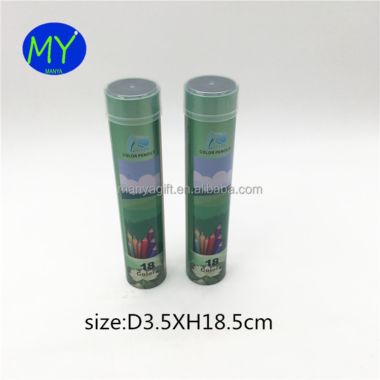 Promotional natural wooden color pencil in ruler tube tin box