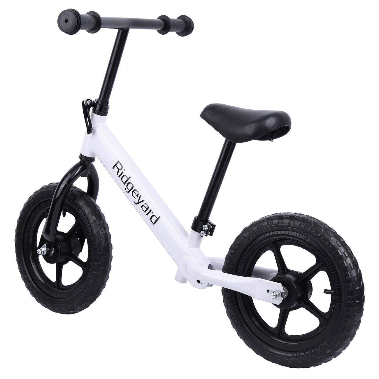 "Ridgeyard 12"" White Kids Balance Bike Adjustable Frame No Pedal Walking Balancing Bicycle (Age 2-6)"