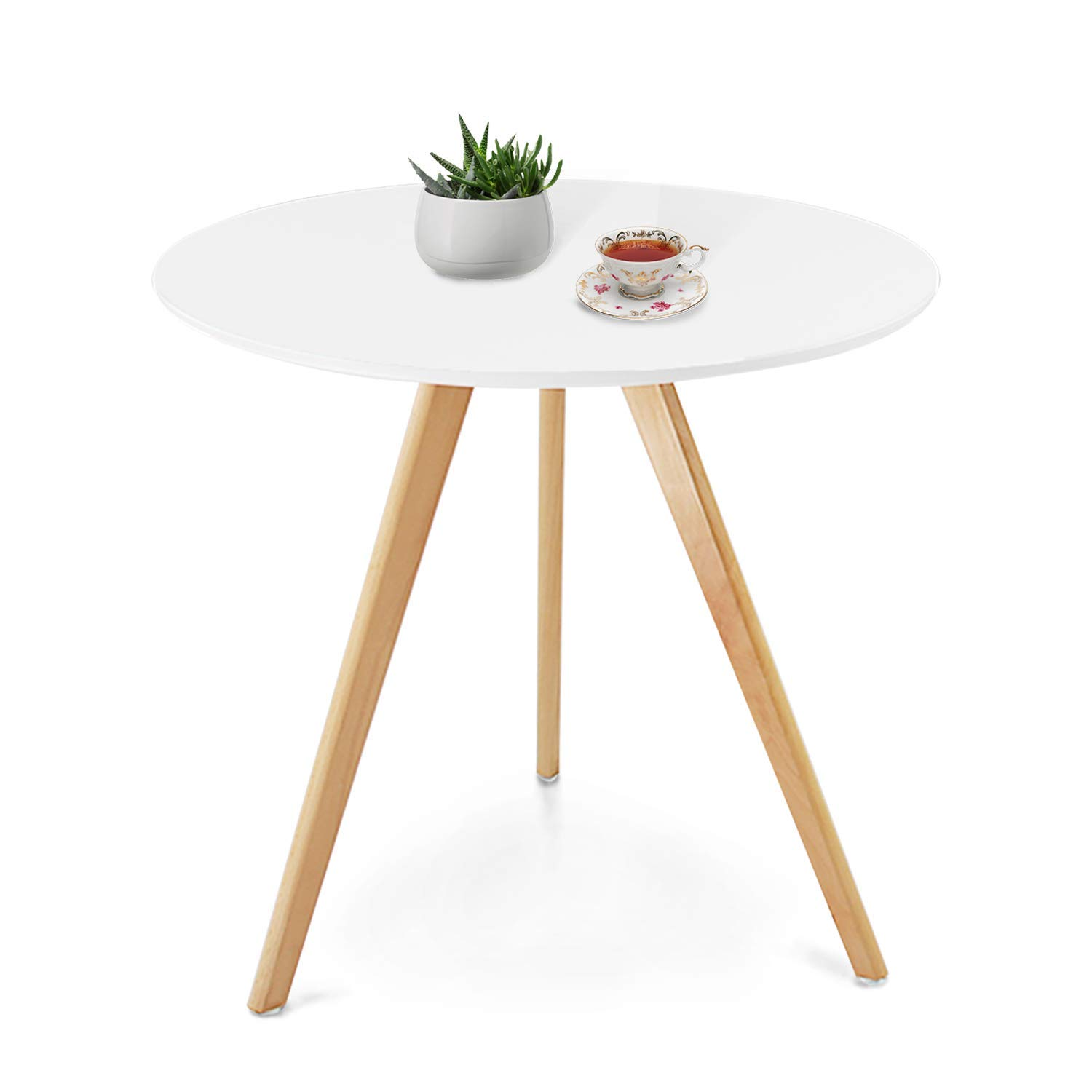 Jerry & Maggie - Dinner Table Desk Large Family Size with Wood Legs Stone Like Polish Surface Multi Purpose Work Study Dining Living Room Kitchen Furniture Decor Modern Fashion Simple - Round | White