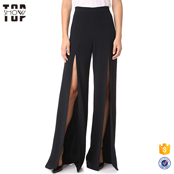 OEM wholesale clothing hidden back zip sexy women wide leg pants