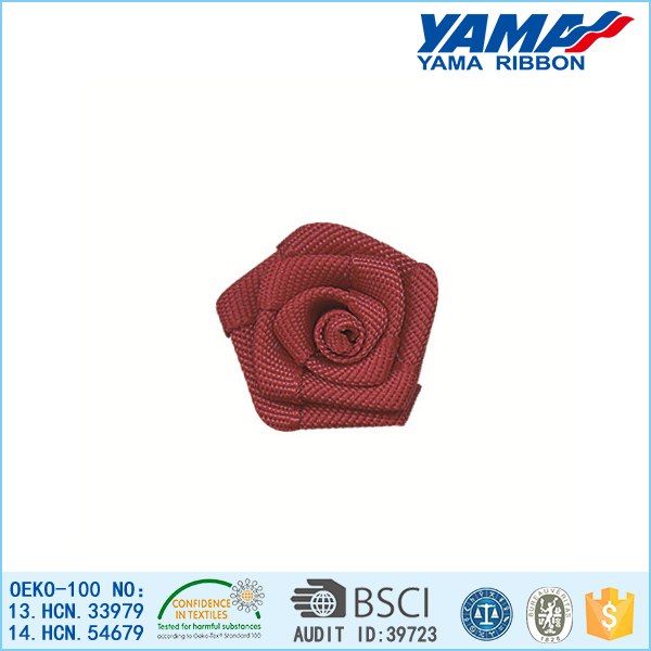 Wholesale solid color taffeta ribbon cheap artificial red rose flower