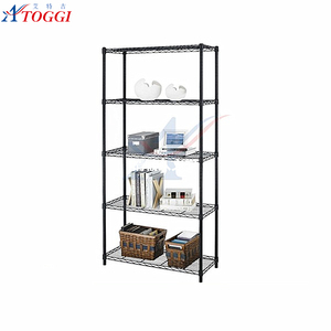 hot sale foldable plastic coated black 5 layer wire shelving