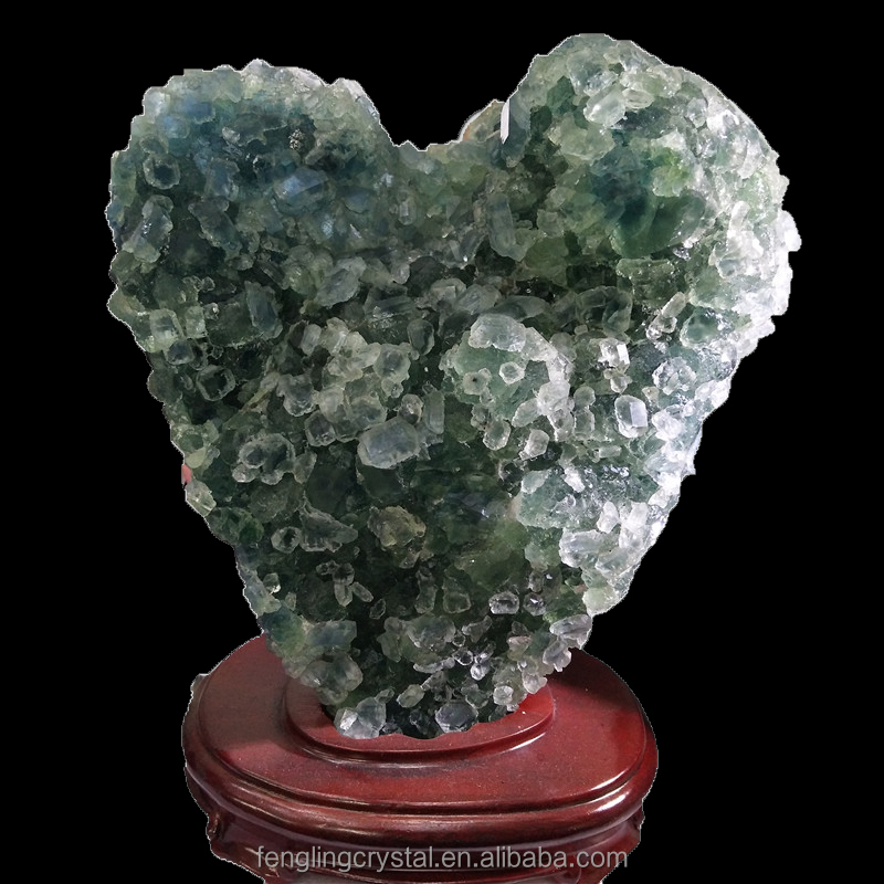 Wholesale natural rock green fluorite specimen crystal mineral with blue inside in the light