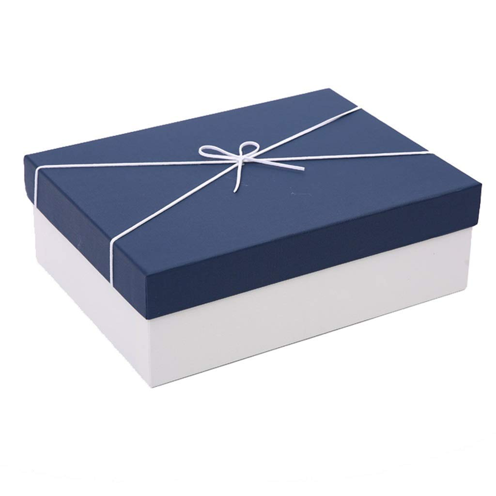 Simple Rectangular Gift Box Birthday Holiday Anniversary Large Packing Box (Color : Blue, Size : 29×21×9cm)