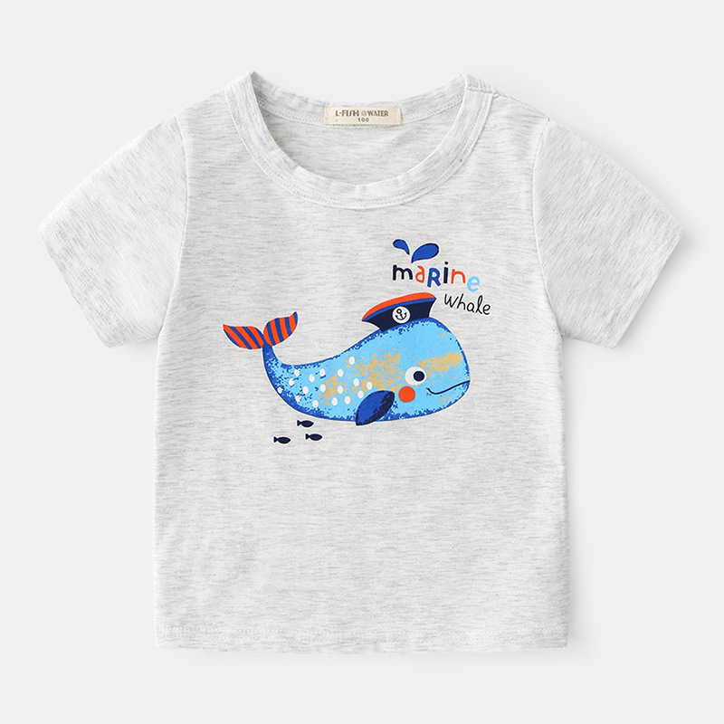 Ali Express Distributor Indonesia Summer Children Bangladesh Cotton Printed Whale Basic T-shirt
