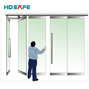 sliding folding glass door with stainless steel, stain finish
