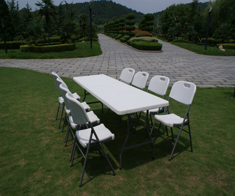 8ft Rectangle Table/solid Plastic Folding Table/for Outdoor Picnic  Use/8seater Long