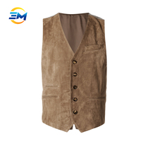 High quality brown button up suit leather waistcoat for men