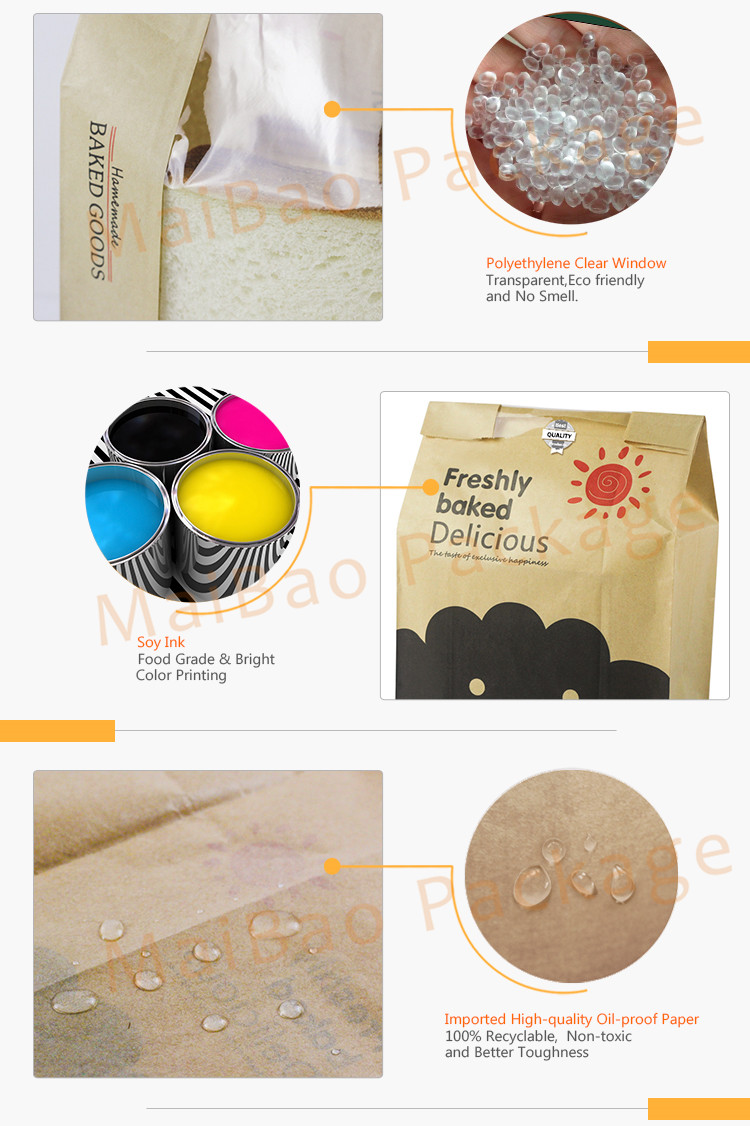 Wholesale no handle custom printed bakery bread cake paper bags small plain brown kraft paper bag for food packaging with window