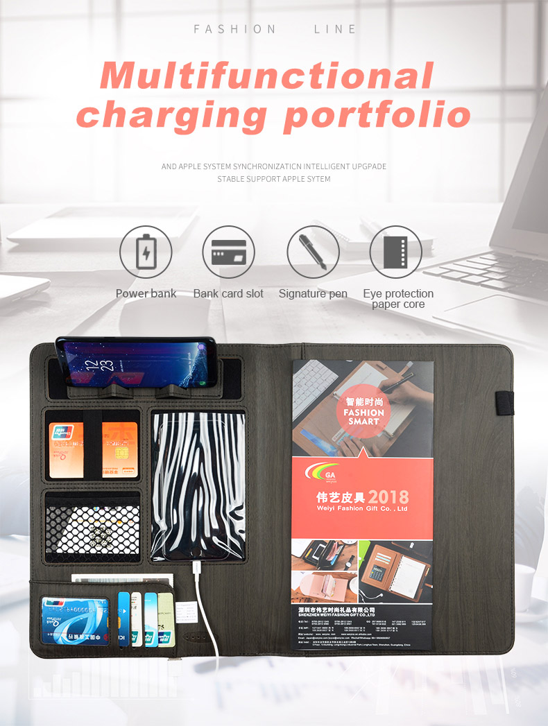 Multifunctionele Custom Bestandsmap Business A4 Pu Lederen Padfolio Portfolio Organizer Met 6000 Mah Power Bank