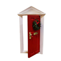 Gift For Christmas 1:12 Scale Wooden Red Elf Fairy Door Christmas Toys For Kids