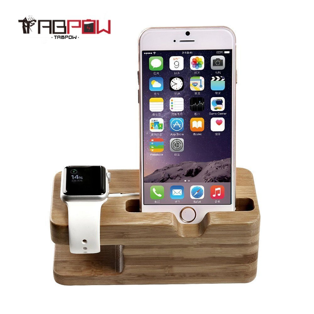 Apple Watch Stand, TabPow [Charging Dock] Bamboo Wood Charge Station Dock Docking Stand for Apple Watch & iPhone - Fits iPhone Models: 5 / 5S / 5C / 6 / 6 PLUS and both 42mm & 38mm sizes of Apple Watch All Models