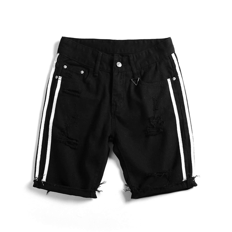 Bansca 2018 Summer Fashion New Men's Casual White Jean Shorts/Men's Hole Black Denim Cowboy Shorts