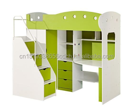 multifuncin de cama con armario y tres cajones con escritorio y estante de libros