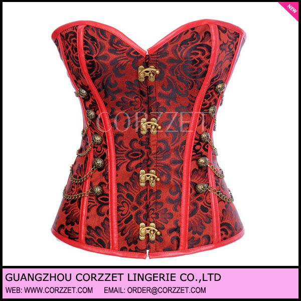 Red leather steel boned gothic corset with Antique Buttons