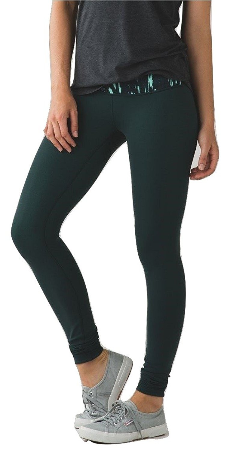 50a87a212b Get Quotations · Lululemon Wunder Under Pant Yoga Pants Reversible Dark  Fuel Menthol Green