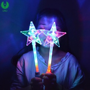 Plastic Led Light Up White Super Star Princess Wands