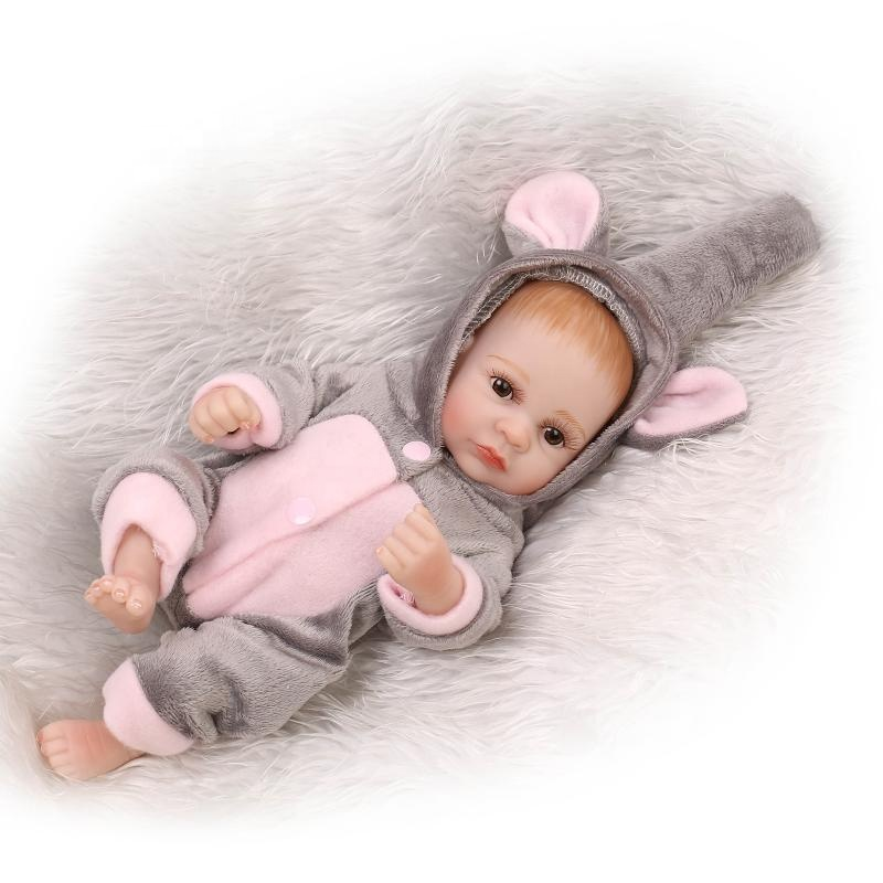 Reborn Newborn Baby Realike <strong>Doll</strong> Handmade Lifelike Silicone Vinyl Weighted Alive <strong>Doll</strong> for Toddler Gifts 10&quot;