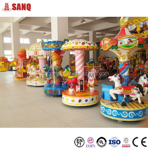 Amusement Park Kids Rides 3 Seats Mini Carousel For Sale