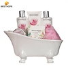 China factory design beautiful ceramic luxurious personal care body spa bath cleaning gift set in bathtub