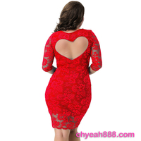 Wholeale Three Colors Four Size Sexy Red Lace Fat Women Summer Dress