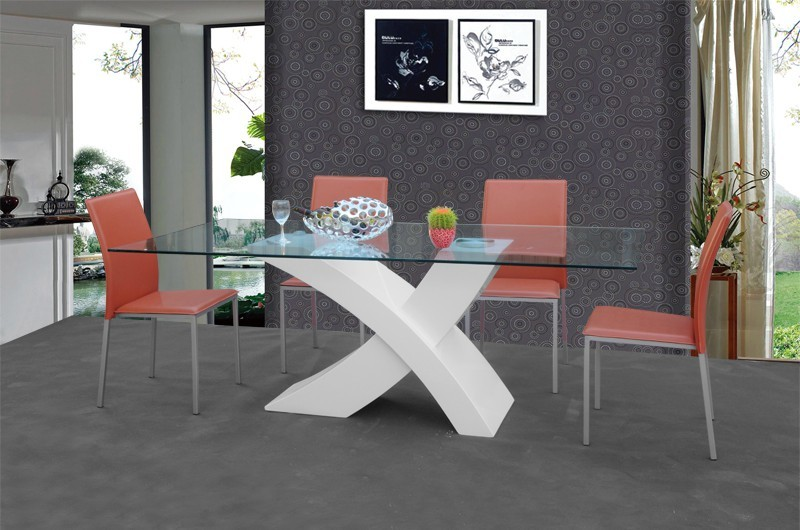 Modern X Base 8 Seater Dining Table Tempered Glass Dining Table ...