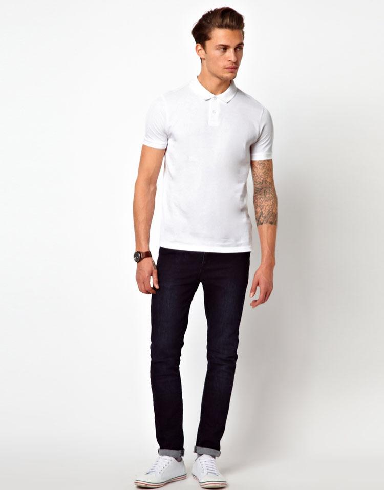 Wholesales 2 Pack Slim Fit Plain White Pique Blank Polo T ...